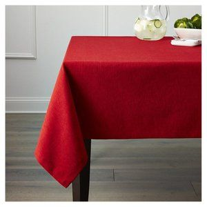 Crate & Barrel Kelsey Red Linen Tablecloth